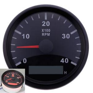 Analog-Boot-Drehzahlmesser-4000-RPM-Rot-LED-Digital-Stundenzaehler-Hourmeter-85mm