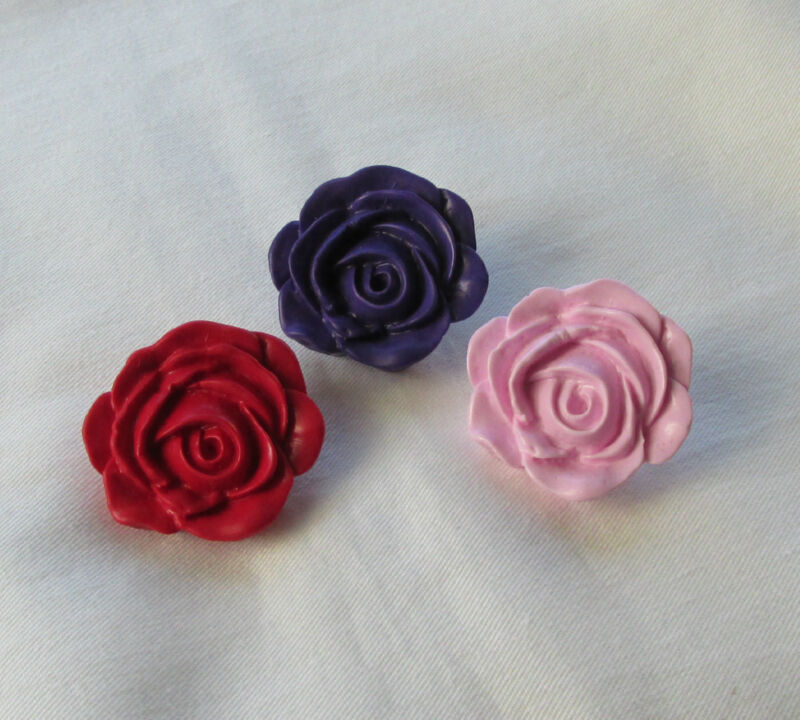 Red Black Pink Purple Pretty Large Flower Rose Handmade Brooch Pin - Gift Boxed