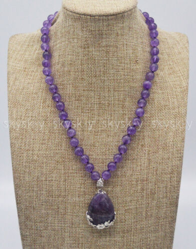 "Charmant violet 8 mm Améthyste pierres précieuses Perles rondes Drop Pendentif Colliers 18/"" AAA"