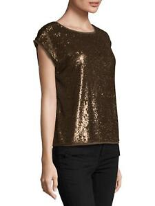 Joie-298-Bronze-Brown-Sequin-Synthetic-Marania-Dressy-Top-Blouse-Top-SZ-S