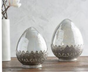 Pottery Barn Madeline Mercury Glass Egg Easter Bunny Large