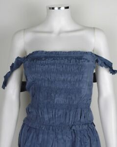 LAUNDRY 100% SILK TEAL BLUE SMOCK GATHERED RUFFLE FRILL STRAPPY PLEATED DRESS