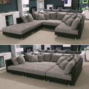 wohnlandschaft claudia xxl ecksofa couch sofa mit hocker schwarz und graubeige 4059236032930 ebay. Black Bedroom Furniture Sets. Home Design Ideas