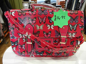 Butterfly-Print-Satchel-NWT-Red-Multi-colour-Structured-Shoulder-Bag-Oilcloth
