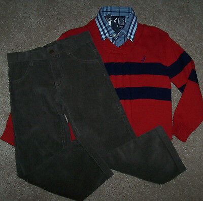 Nautica Boys/' 3 Piece Set with Shirt Quarter Zip Sweater and Pant MSRP $59.50