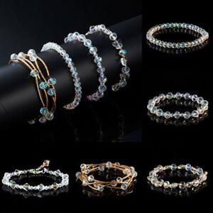 Transparent-Beaded-Friendship-Bracelet-Crystal-Fashion-Elastic-Bangle-Jewelry