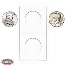 100 - 2x2 Cardboard Paper Coin Holder Mylar Flips for HALF DOLLAR