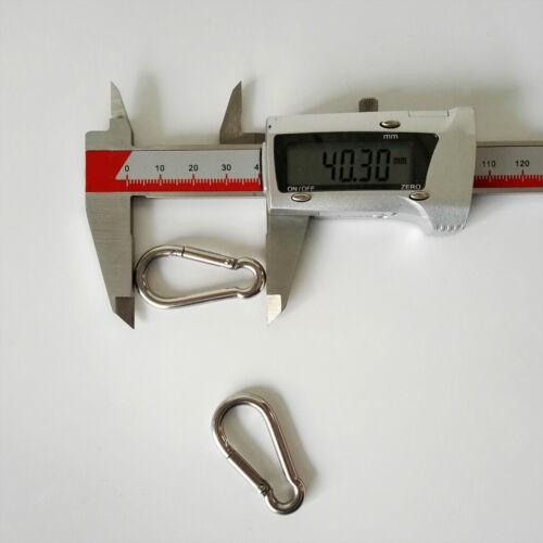 2 stücke Edelstahl Frühling Karabinerhaken Karabiner Clip Keychain M4x40mm