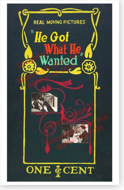He Got What He Wanted Penny Arcade Mutoscope Movie Marquee Poster