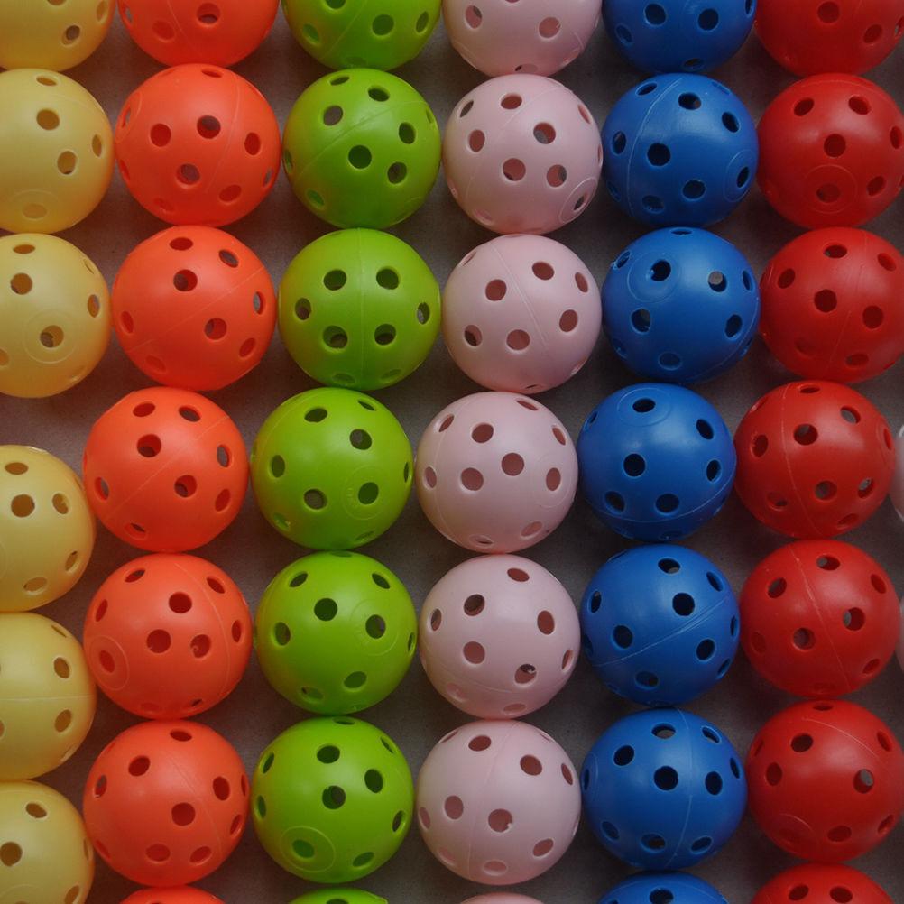 100pcs Hollow Plastic Practice Golf Balls Golf Wiffle Balls