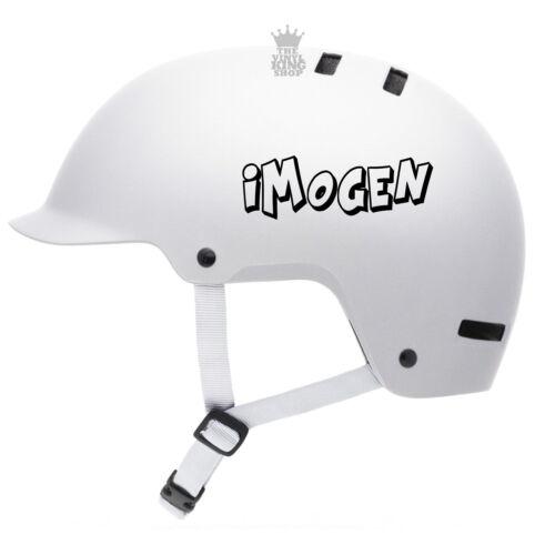 2 x Personalised Name Stickers for Bike Helmet Crash Font Vinyl Decal BMX kids