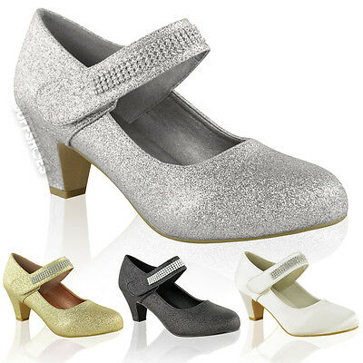Ladies Womens Mid High Heel Peep Toe Shoes Glitter Diamante Party Bridal Size