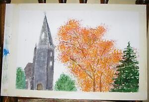 VINTAGE DISTRESSED GRAY CHURCH ORANGE AUTUMN FOLIAGE TREE FOLK ART OLD PAINTING