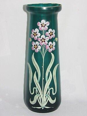 09e32 Antik Groß Vase Aus Glas Colore Emaille Dekor Blumen Jugendstil 1900 SchüTtelfrost Und Schmerzen