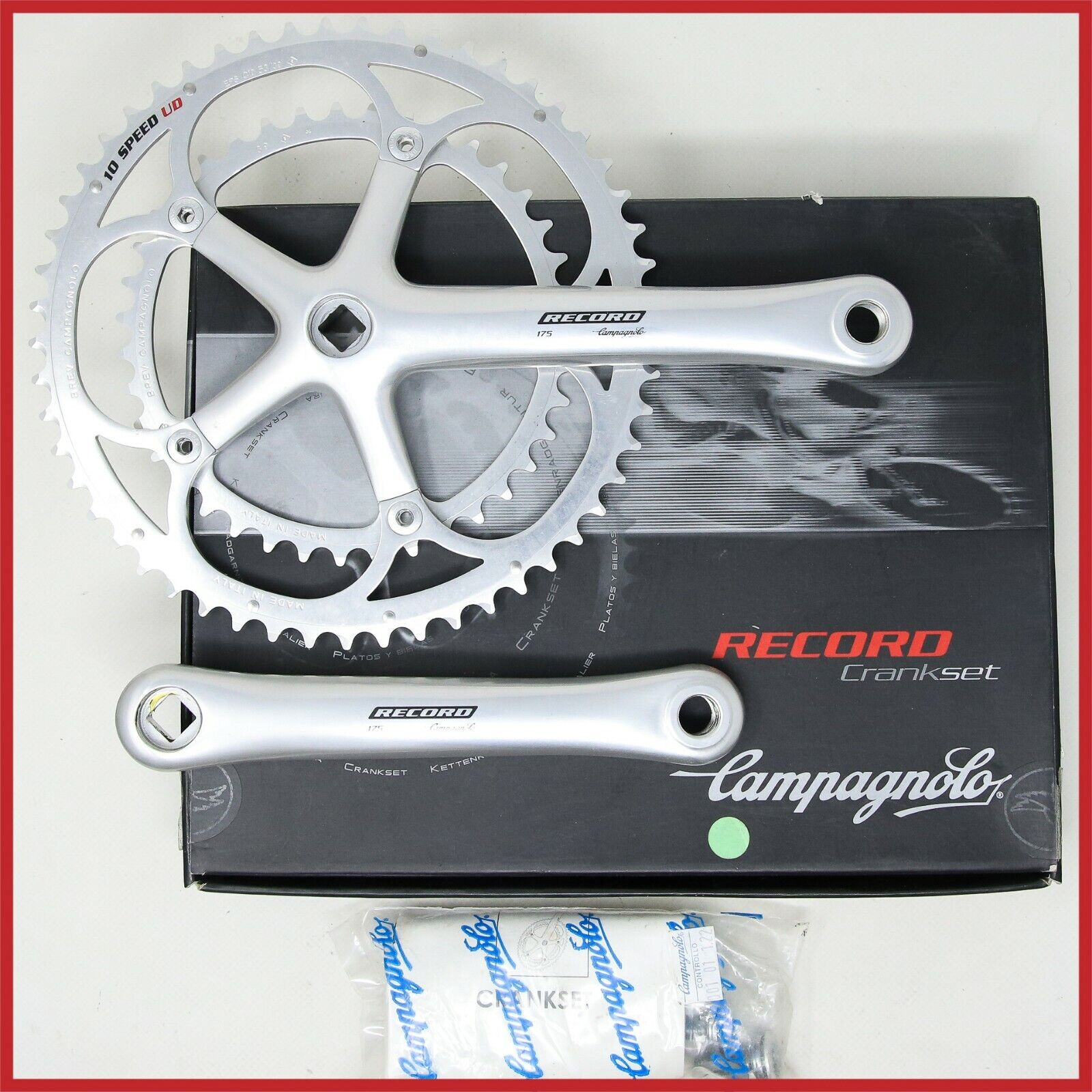 NOS CAMPAGNOLO RECORD CRANKSET 175mm  53-39T UD EPS 10s SPEED SQUARE TAPER BIKE  a lot of surprises