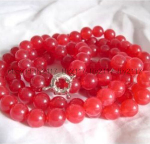+ environ 76.20 cm Nature 8 mm Rond Rouge Rubis Perles Collier AAA 30 in