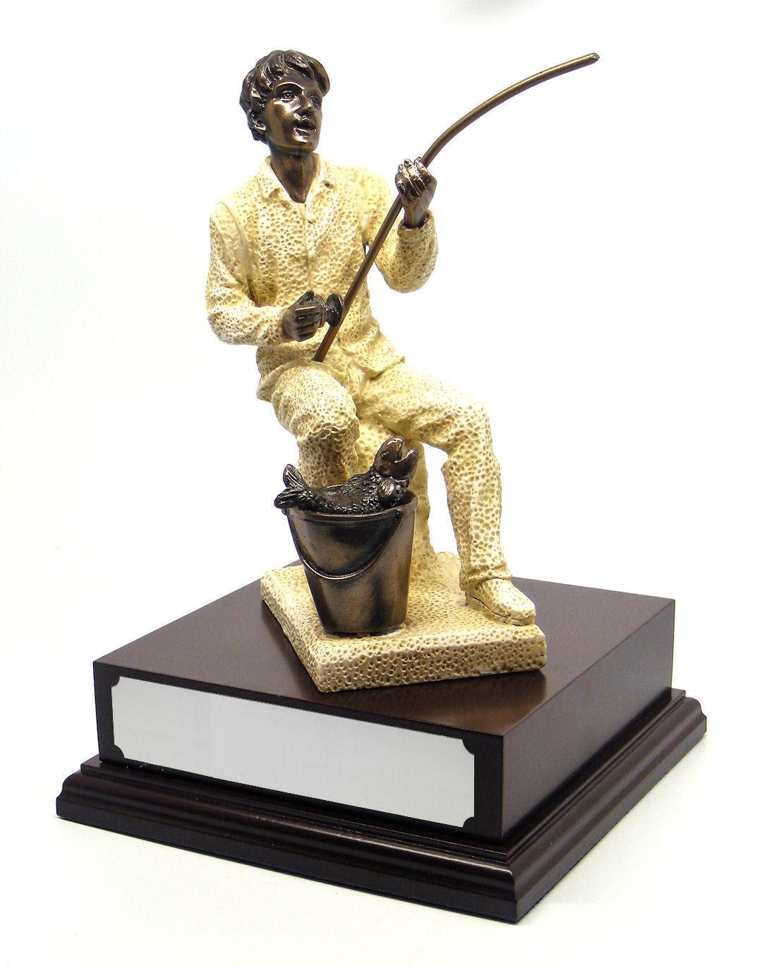Personalised Fisherman Fishing Figurine Award Trophy On Engraved Wooden Base