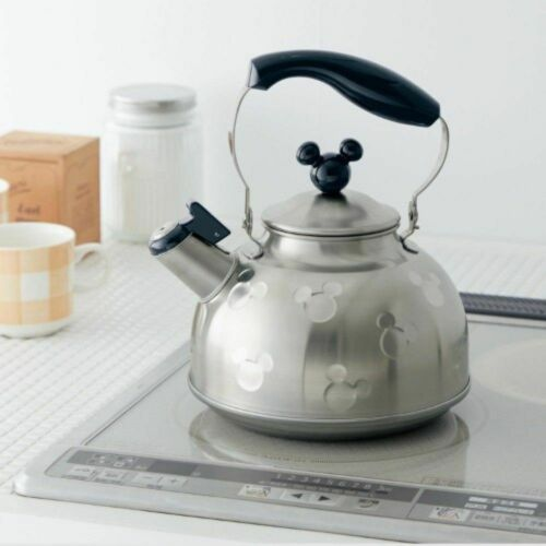 Disney Mickey Mouse IH Stainless Steel Whistling Kettle Pot Silver x Black New