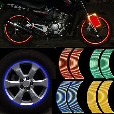 16 Strips Lots Reflective Motorcycle Car Rim Stripe Wheel Decal Tape Sticker KY