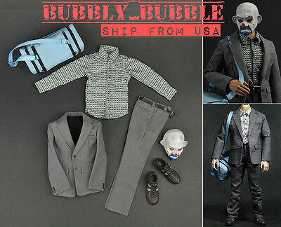 1//6 Joker Bank Robber Outfit Accessories Full Set For Hot Toys 12/'/' Male Body