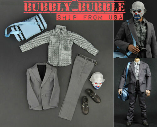 1//6 Joker Bank Robber Outfit Accessories Full Set For HotToys Body SHIP FROM USA