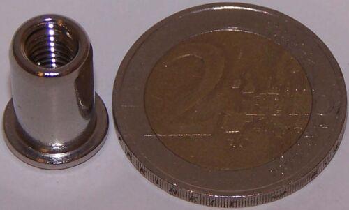100 Edelstahl A4 Blindnietmuttern M5 mit Flachkopf 0,5-3,0mm V4A seewasserfest