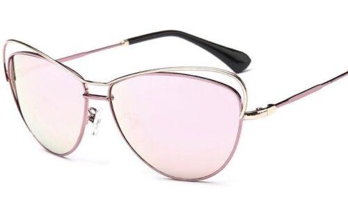 Rose Pink Metal Frame Cat Eye Rose Pink Lens Mirrored Vintage UV400 Sunglasses