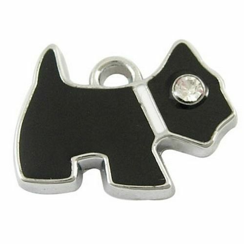 10pcs Platinum Tone Dog Alloy Enamel Rhinestone Pendant Black Jewelry Charm Link