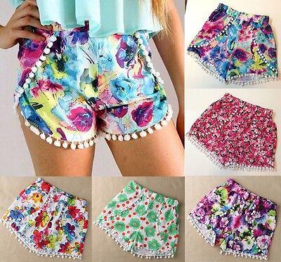Fashion Hot Women's High Waist Tassel Print Beach Casual Mini Shorts Short Pants