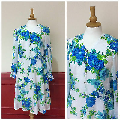 VINTAGE WHITE BLUE GREEN FLORAL DRESS 1970s RETRO A-LINE SKIRT BOHO SIZE 12-14