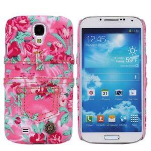 pour-Samsung-Galaxy-S4-Sac-etui-housse-etui-de-Protection-bumper-jeans-fleurs