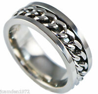 Ladies White Gold Chain Inlay Ip Finish Stainless Steel Wedding Band Ring Size 6