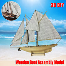 1:30 DIY Wooden Sailing Boat Kit Educational Assembly Ship Kids Toy Gift New