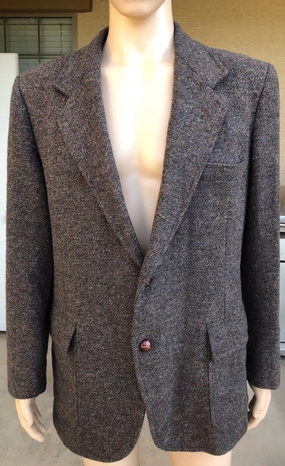 Vintage Pendleton Wool Blazer Elbow Patches Size 44 Sport Coat USA Made