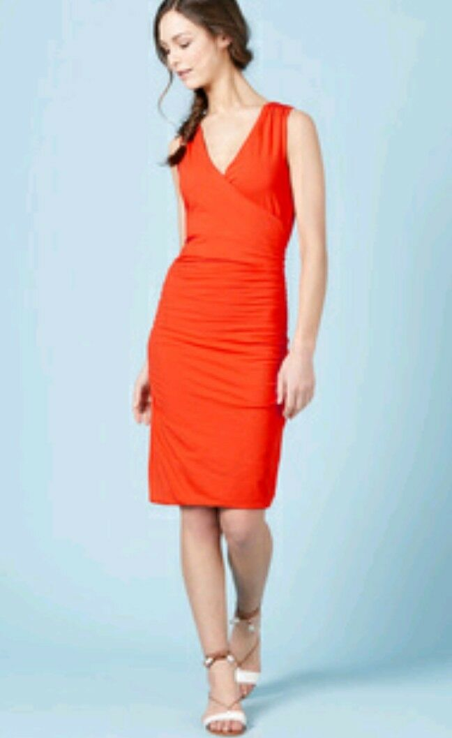 BODEN Credver Ruched dress dress dress size 8R --NEW WITH TAGS--knee length red Sexy curvy 02de1c