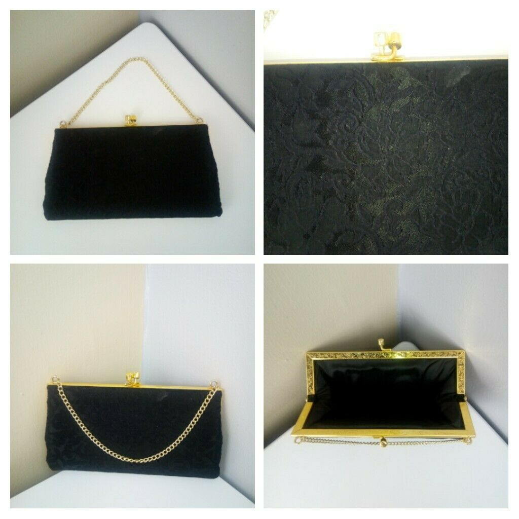 VINTAGE - Woman's Black Gold Bag Handbag Clutch Purse 1960s