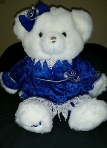White-Plush-Bear-Royal-Blue-Velvet-Dress-Snowflake-Holiday