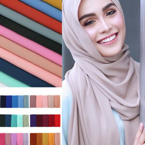Women-Fashion-Chiffon-Long-Scarf-Muslim-Hijab-Arab-Wrap-Shawl-Headwear-39-Colors