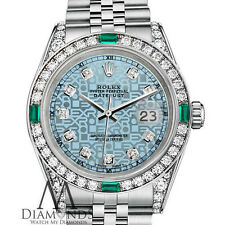 Women's Rolex Datejust 31mm Steel Jubilee Ice Blue Emerald Diamond Dial Watch