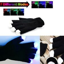 7 Mode LED Rave Light Finger Lighting Flashing Light Up Gloves Glow Mitt Black