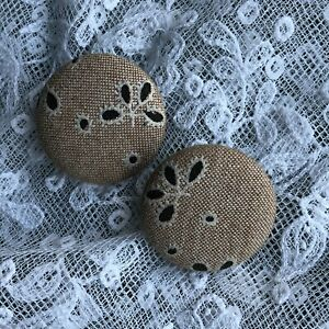 Clip-On-Earrings-Black-Beige-Black-Fabric-Vintage-Retro-1980s-Large-Huge-Round