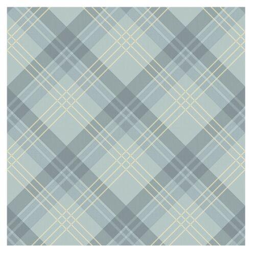 Arthouse Fairburn Tartan Soft Blue Cream Vinyl Wallpaper 252706