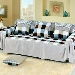 Image Is Loading Check Cotton Blend Slipcover Sofa Cover Oaul Protector