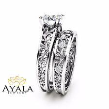 Unique Diamond Bridal Set 14K White Gold Engagement Rings Art Deco Rings