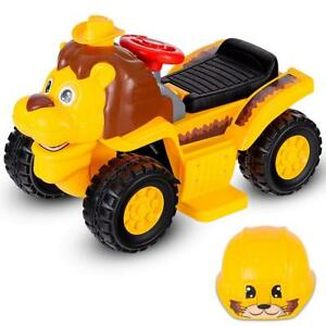 Kids Ride On Car, 6V Battery Powered Electric Vehicle W/Horn Safety Helmet Under