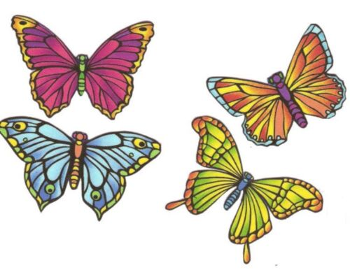 Iron On Fabric Appliques Stained Glass Butterflies