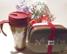 Stackable lunch containers with band to hold food in  hot or cold/drinking mug