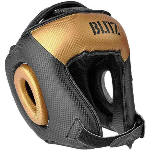 BLITZ BOXING Head Guard Black Gold Formazione MMA Sparring PROTEZIONE CENTURION