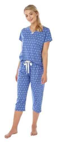 Ladies Jersey Short Sleeve Cropped pyjamas pjs Pink or Blue 10-20 Starfish print