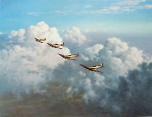 QUARTET-by-Gerald-Coulson-aviation-art-signed-by-an-RAF-Spitfire-Ace
